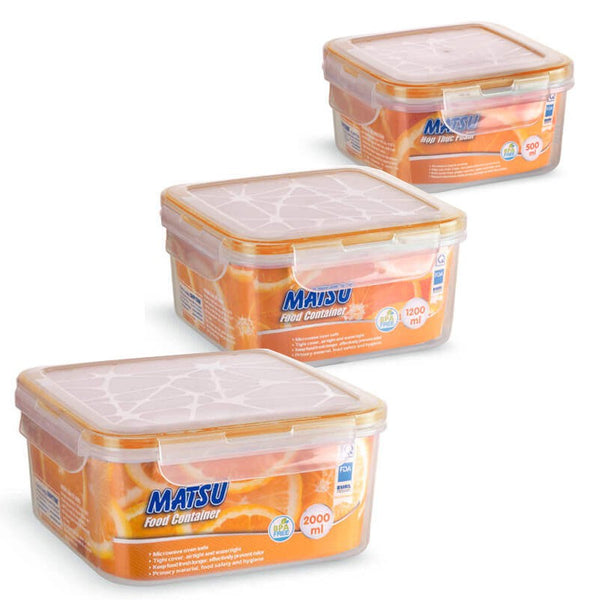 Matsu Medium Square Plastic Food Containers (3 PCS)