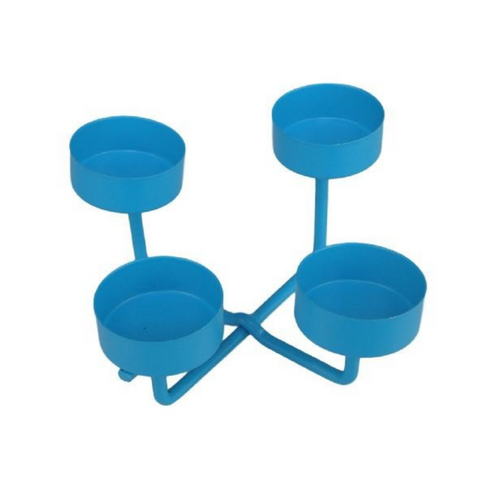 Blue Metal Candle Holder - 16 x 16 x 8 cm - Akil Bros