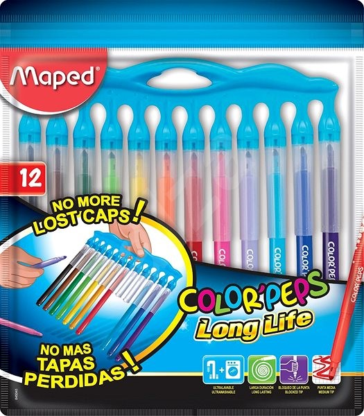 Maped Color'Peps Long Life Innovation Colouring Pens With Holder - Pack of 12