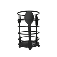 Black Metal Cutlery Holder (Round)
