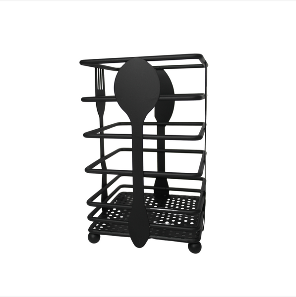 Black Metal Cutlery Holder (Square)