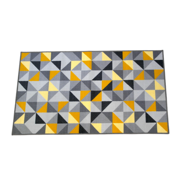 Yellow and Grey Geometric Rug (140 x 80 cm)