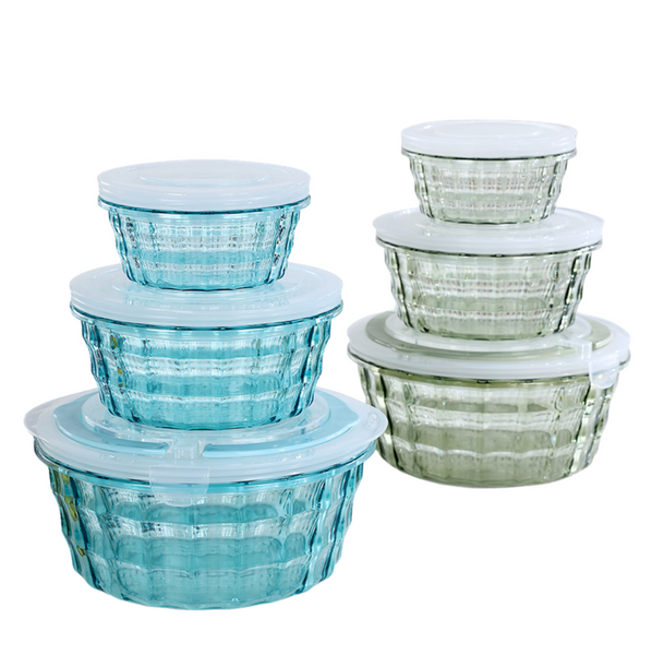 Polypropylene Round Plastic Food Storage Container Set w/ Lid