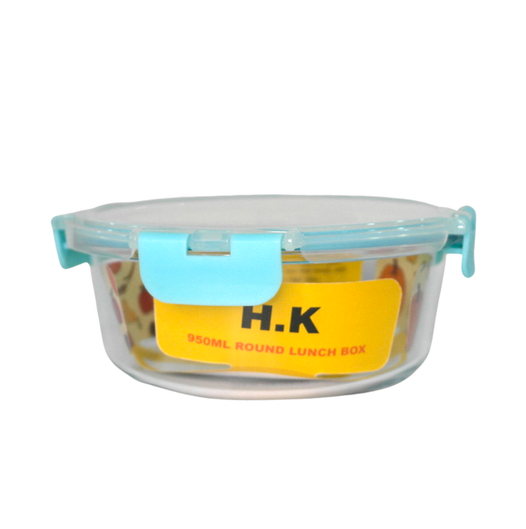 Round Glass Food Container w/ Clip Lid - 950ml - Akil Bros