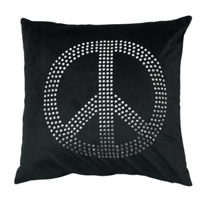 Black Peace Pillow Cover - 45 x 45 cm - Akil Bros