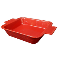 Red Ceramic Oven Dish w/ Handles
