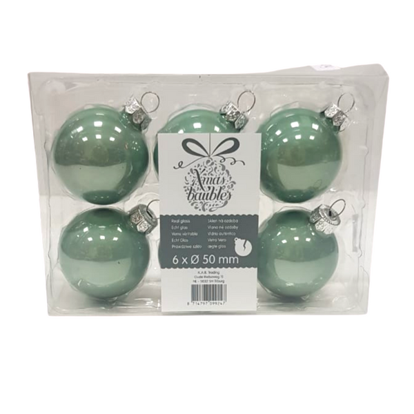 Green Christmas Baubles - Pack of 6