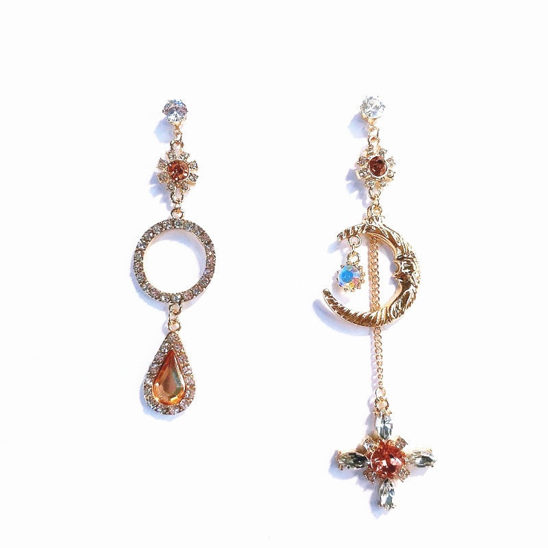 Moon & Crystal Drop Earrings