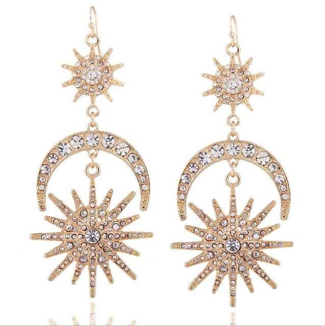 Sun, Moon & Stars Rhinestone Drop Earrings