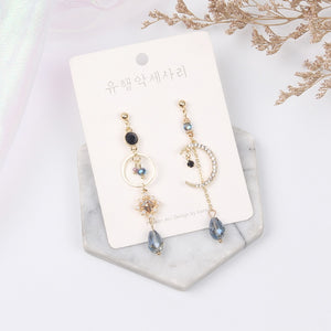 Moon & Blue Crystal Drop Earrings