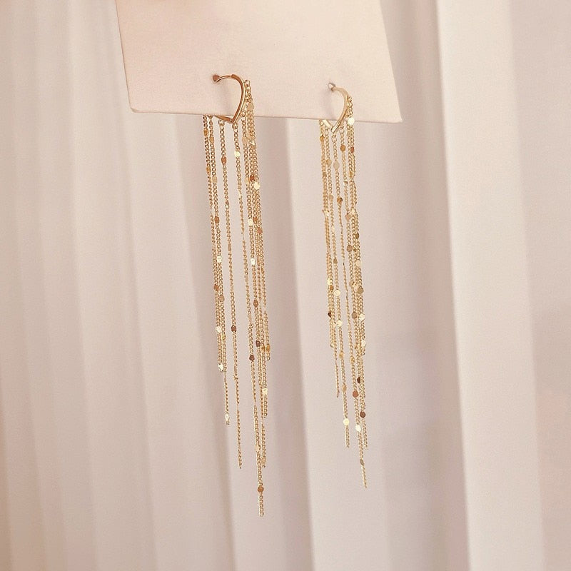 Golden Tassel Long Drop Earrings