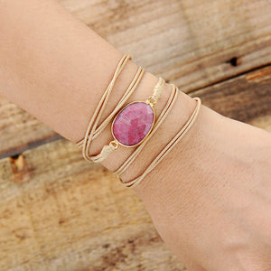 Pink Amazonite Rope Wrap Bracelet (Vegan)