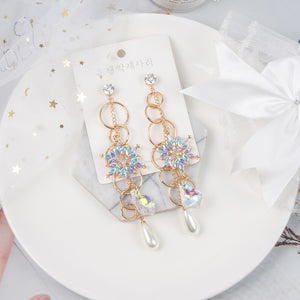 Crystal Flower Pearl Drop Earrings