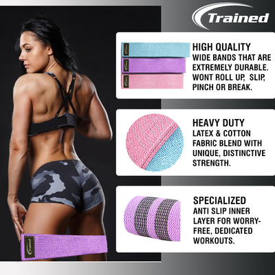 Trained Fabric Booty Bands – Set of 3 Fabric Resistance Bands: Non-slip, Wide, Durable, Comfy Resistance Bands for Butt, Thighs and Legs. Workout For Core, Booty and Glutes. Exercise Program and Carry Bag Included.