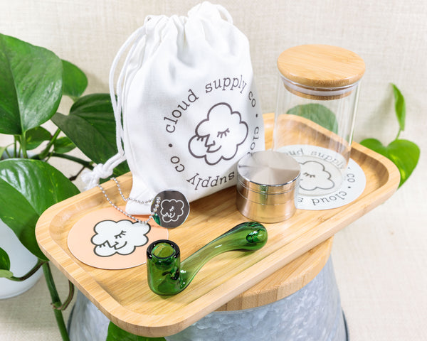 Sherlock Bundle: Pipe, Grinder, Bamboo Rolling Tray & Stash Jar