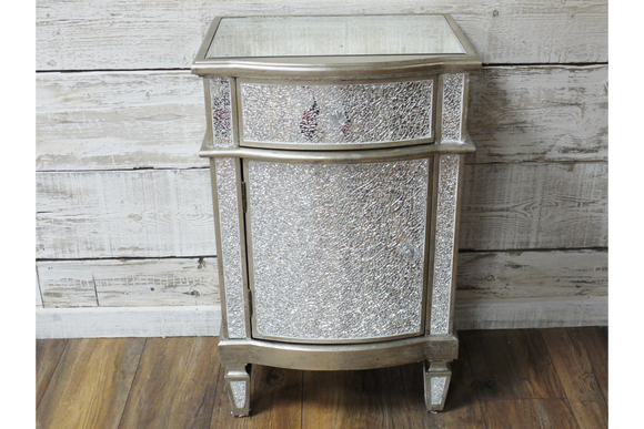 Silver Crackle Storage Cabinet Small