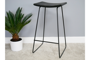 Acacia Solid Wood Black Bar Stool 7