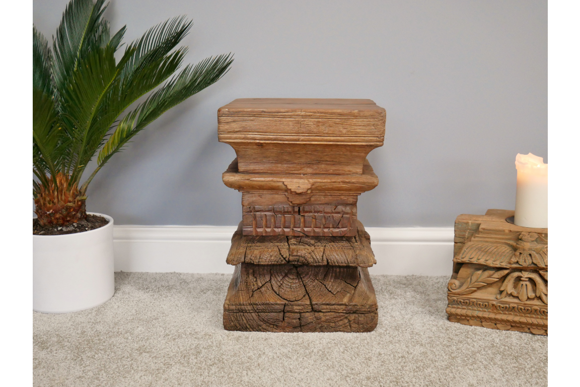 Antique Carved Solid Wood Stool