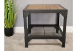 Elm Wood Industrial Side Table 2