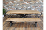 Living Edge Acacia Dining Table and Bench