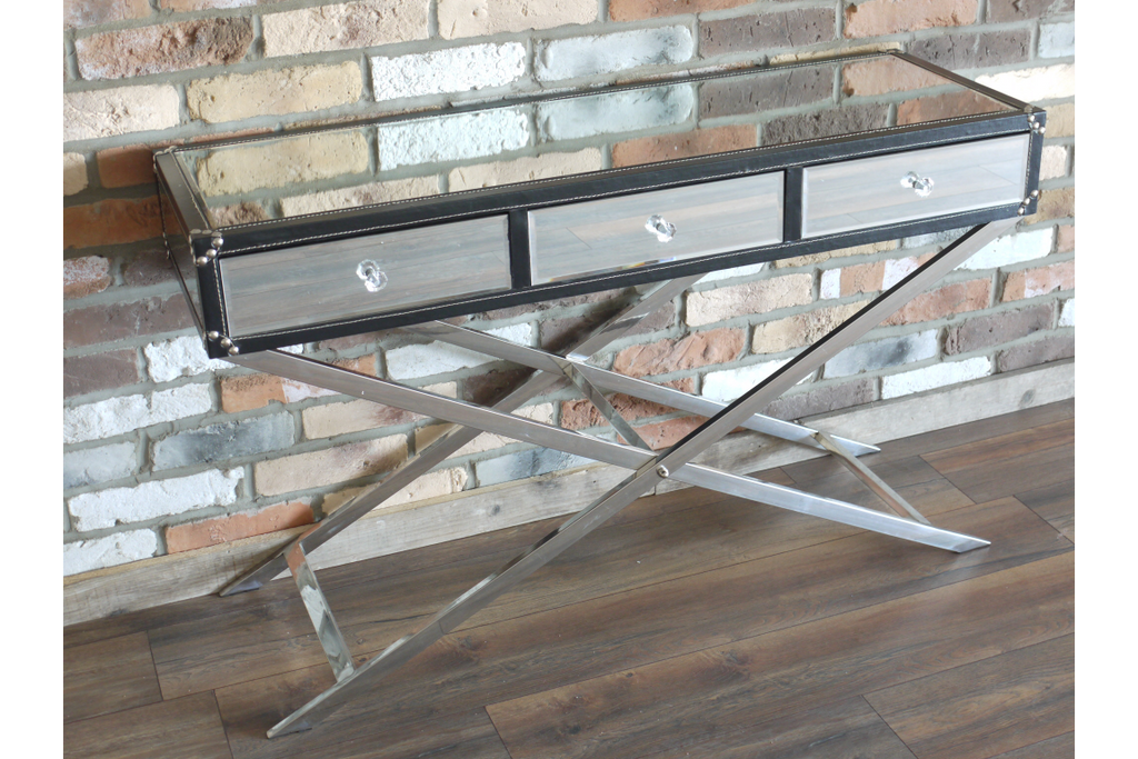 Mirrored Steel and Leather Sideboard