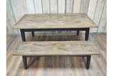 Recycled Birch Wood Dining Table and Bench
