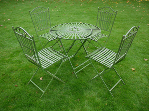 Round Pattern Table and 4 Chair Set