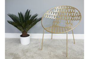 Rounded Gold Finish Chair