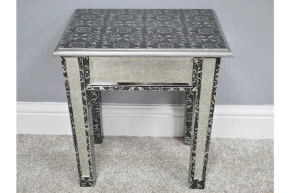 Silver Embossed Side Table