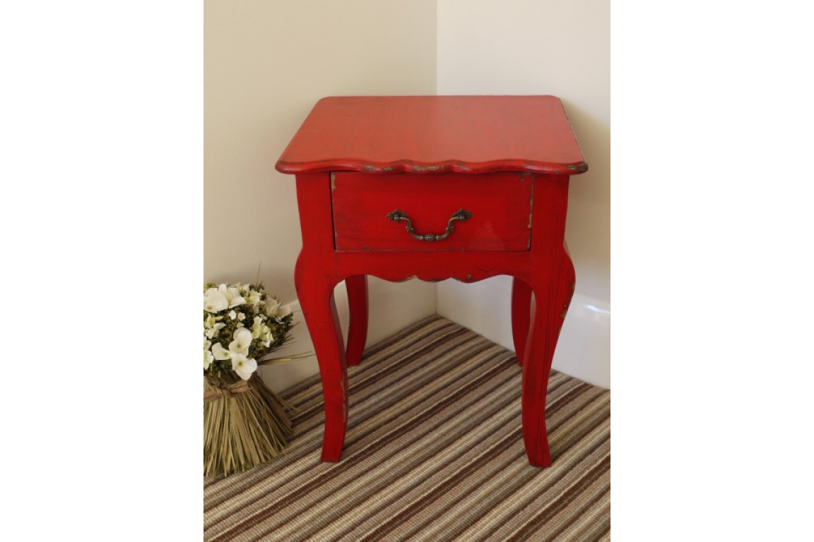 Small Bedside Cabinet Red