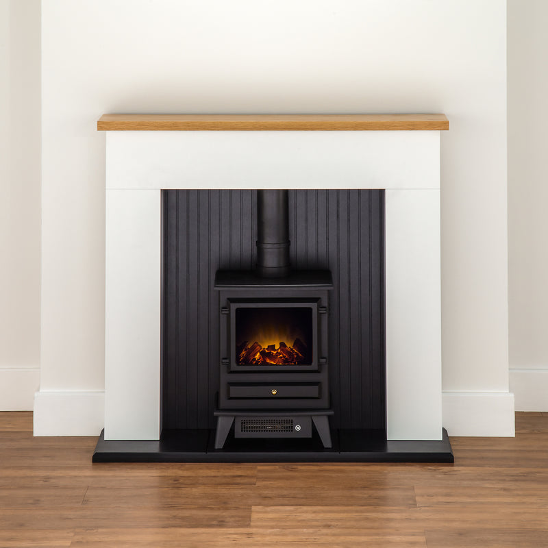 Adam Fires Innsbruck Suite with Hudson Electric Fire 21880 Log Effect Suite And Surround Fireplace - Black