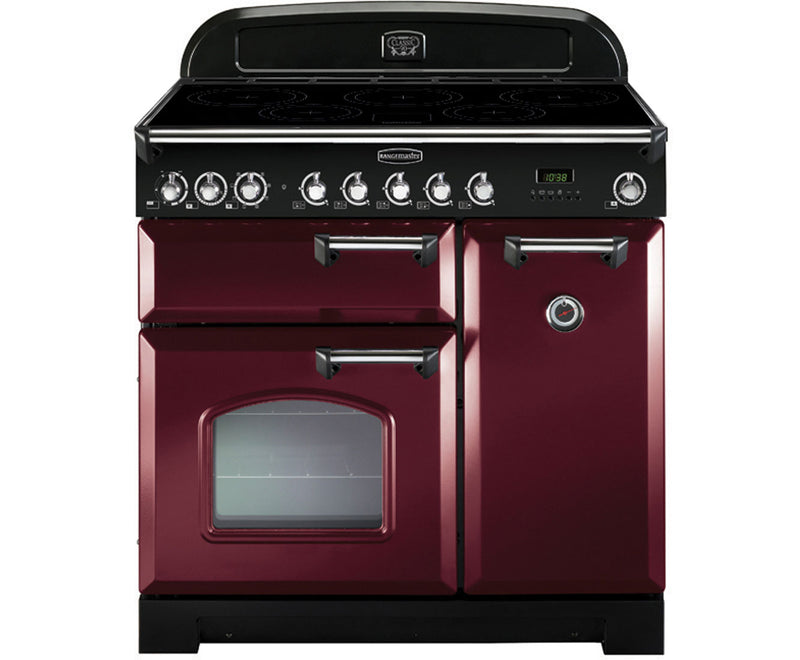Rangemaster Classic Deluxe CDL90EICY/C 90cm Electric Range Cooker with Induction Hob - Cranberry / Chrome - A/A Rated