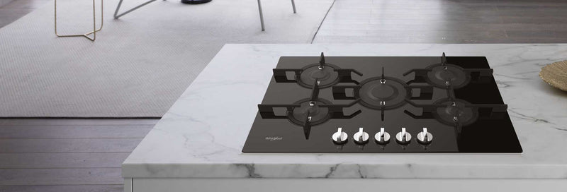 Whirlpool W Collection POW75D2/NB 75cm Gas Hob - Black