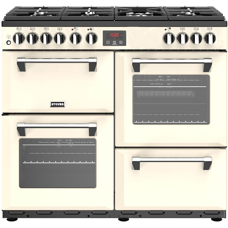 Stoves Belmont 100DFT 100cm Dual Fuel Range Cooker - Cream - A/A/A Rated