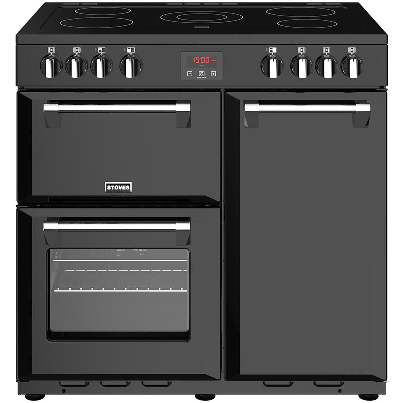 Stoves Belmont 90E 90cm Electric Range Cooker with Ceramic Hob - Black - A/A/A Rated