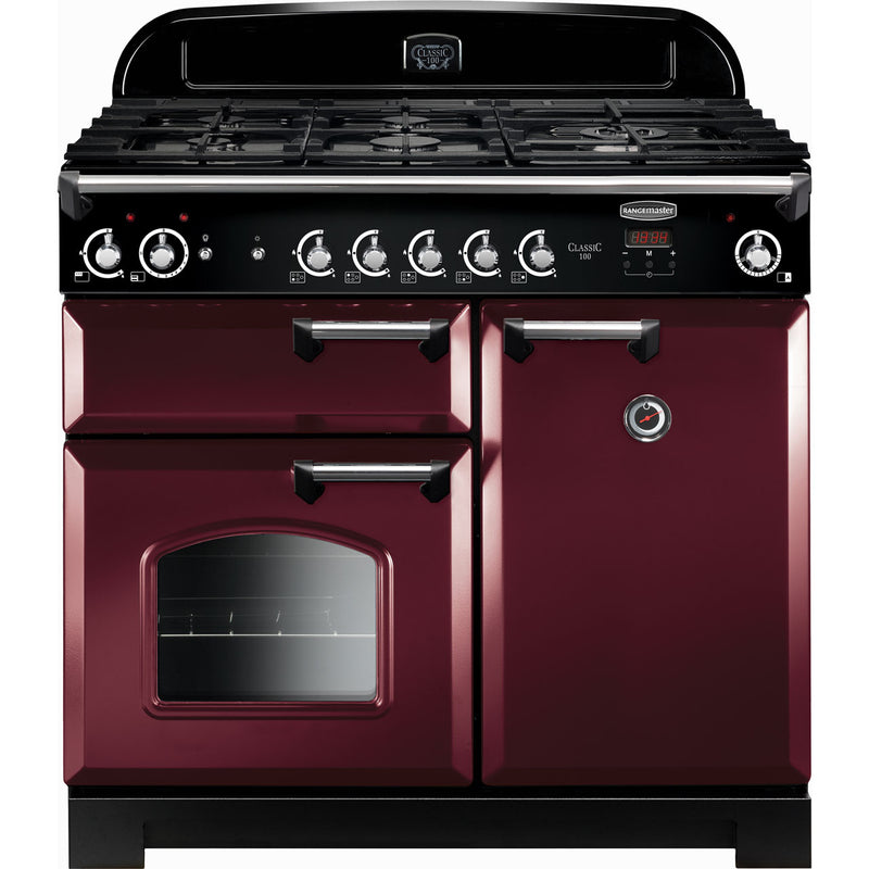 Rangemaster Classic CLA100NGFCY/C 100cm Gas Range Cooker with Electric Fan Oven - Cranberry / Chrome - A+/A Rated