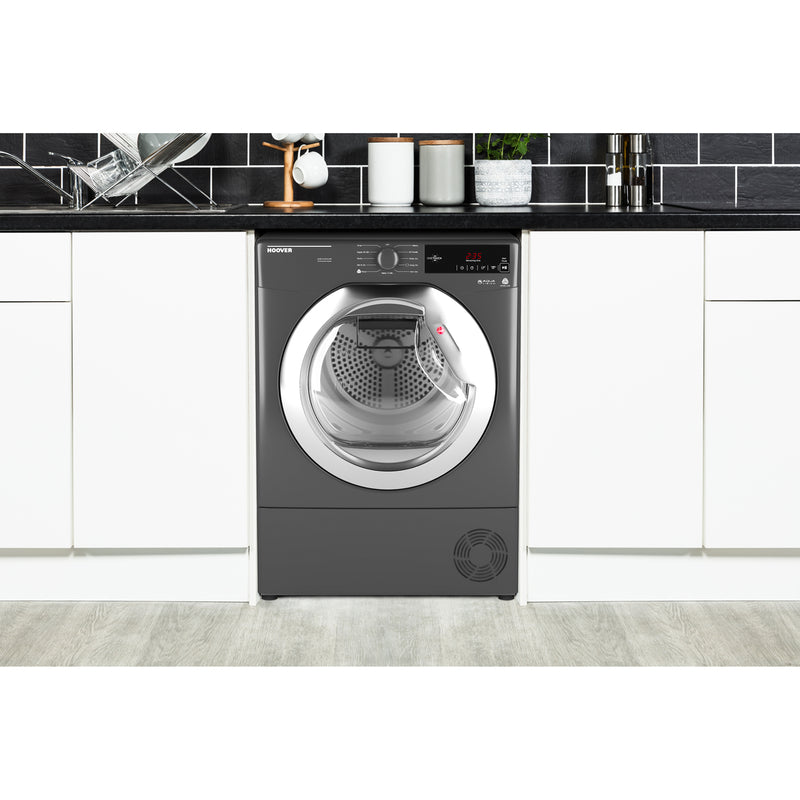 Hoover Dynamic Next Advance DXC8TCER 8Kg Condenser Tumble Dryer - Graphite / Chrome - B Rated