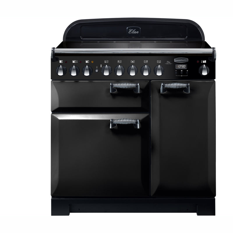 Rangemaster Elan Deluxe ELA90EIBL 90cm Electric Range Cooker with Induction Hob - Black - A/A Rated