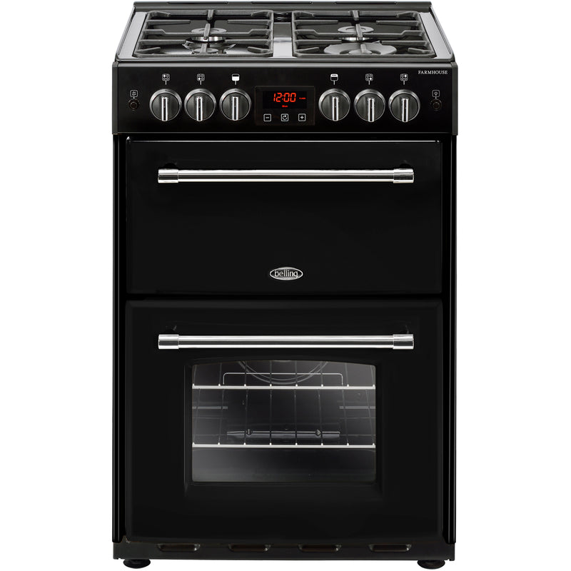 Belling Farmhouse60G 60cm Gas Cooker with Full Width Electric Grill - Black - A+/A Rated