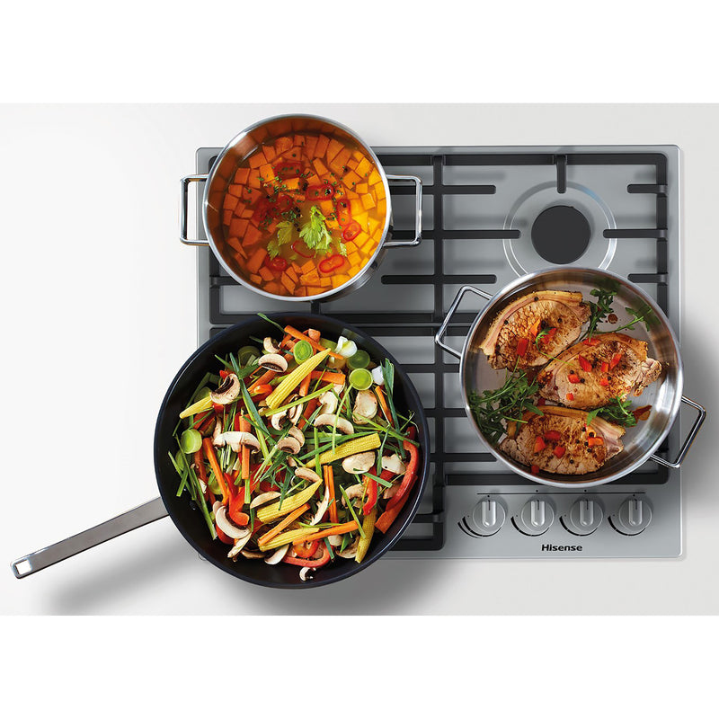 Hisense GM663XUK 60cm Gas Hob - Stainless Steel