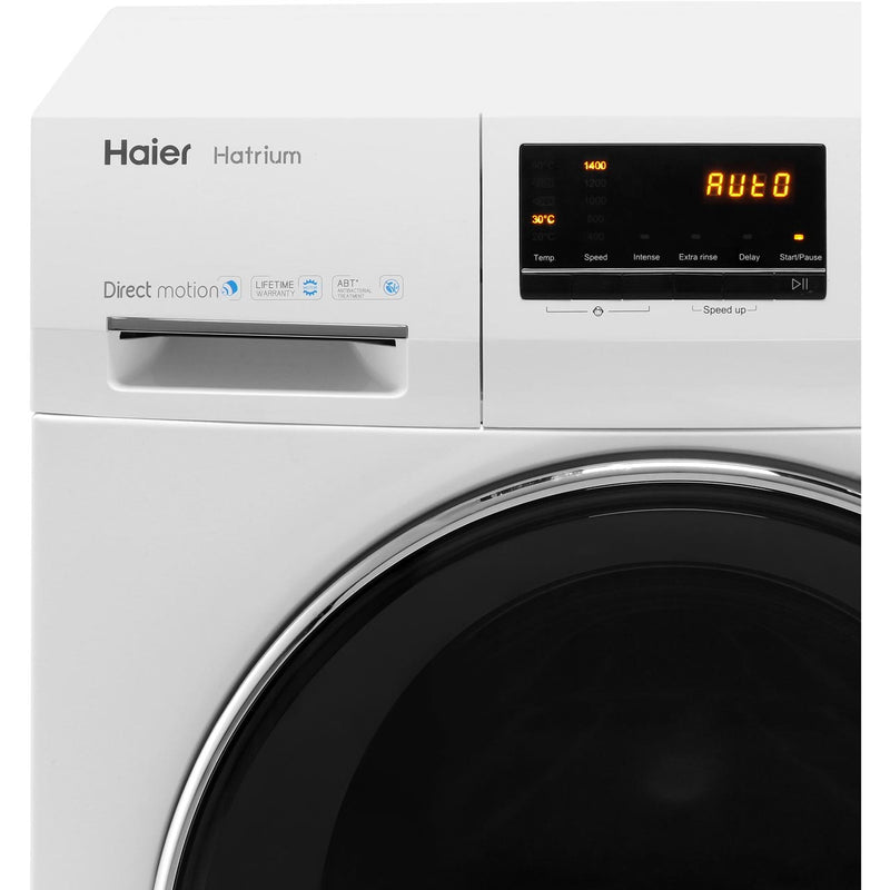 Haier Hatrium HW80-B14636 8Kg Washing Machine with 1400 rpm - White - A+++ Rated