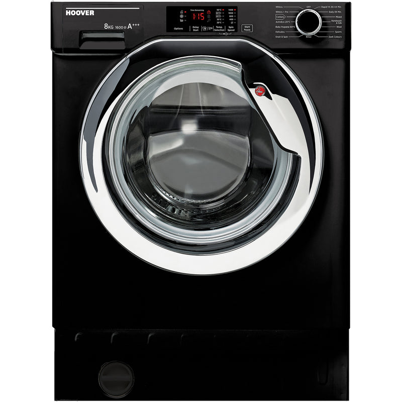 Hoover H-WASH 300 HBWM816DCB/1 Integrated 8Kg Washing Machine with 1600 rpm - Black - A+++ Rated