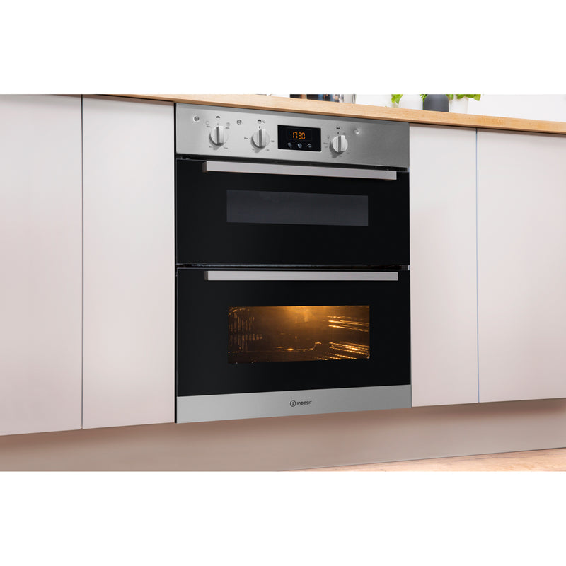Indesit Aria IDU6340BL Built Under Double Oven With Feet - Black - B/B Rated