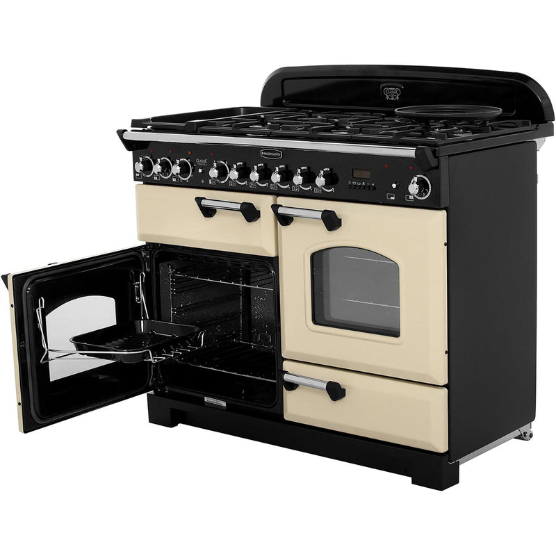 Rangemaster Classic Deluxe CDL110DFFCY/B 110cm Dual Fuel Range Cooker - Cranberry / Brass - A/A Rated