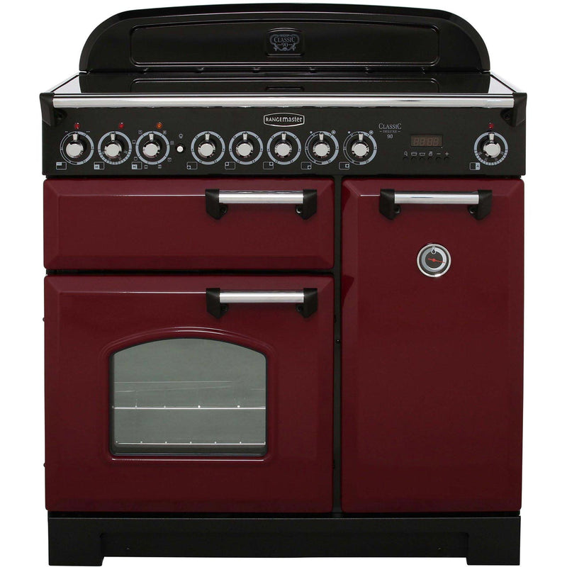 Rangemaster Classic Deluxe CDL90ECCY/C 90cm Electric Range Cooker with Ceramic Hob - Cranberry / Chrome - A/A Rated