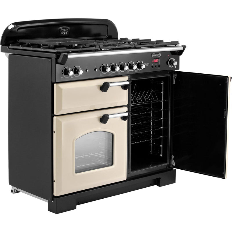 Rangemaster Classic CLA100NGFCR/C 100cm Gas Range Cooker with Electric Fan Oven - Cream / Chrome - A+/A Rated