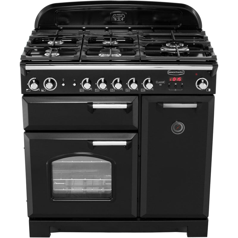 Rangemaster Classic CLA90NGFCR/C 90cm Gas Range Cooker with Electric Fan Oven - Cream / Chrome - A+/A Rated
