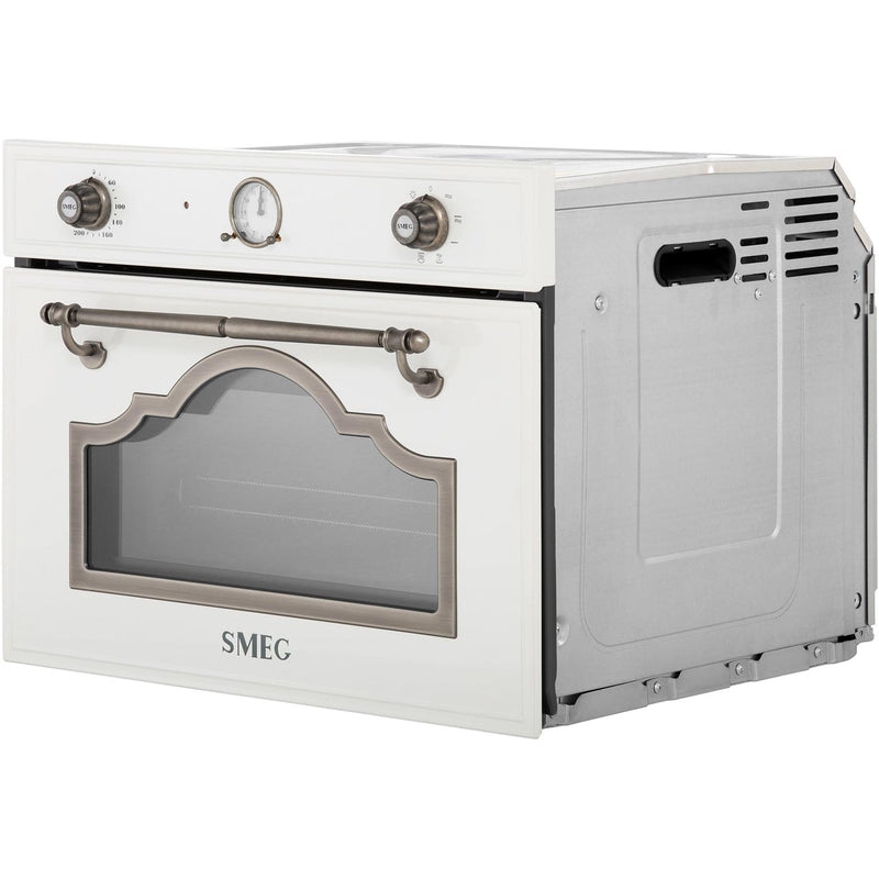 Smeg Cortina SF4750MPO Built In Microwave With Grill - Cream / Brass