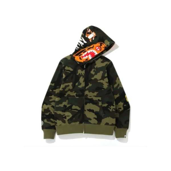 BLUSA BAPE WOODLAND CAMO TIGER FULL ZIP HOODIE GREEN