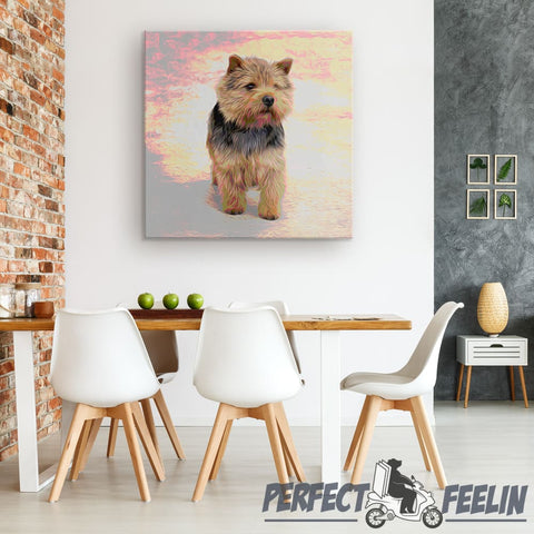 Abby Tiny and Adorable Dog with Sunrise Background Canvas
